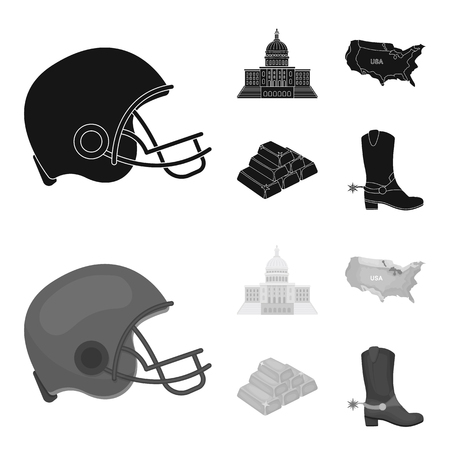 Football player helmet, capitol, territory map, gold and foreign exchange. USA Acountry set collection icons in black,monochrome style bitmap symbol stock illustration web.