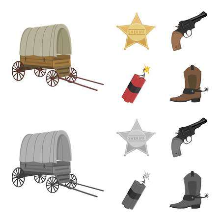 Star sheriff, Colt, dynamite, cowboy boot. Wild West set collection icons in cartoon,monochrome style bitmap symbol stock illustration . 스톡 콘텐츠