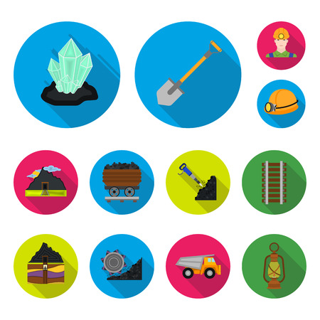 Mining industry flat icons in set collection for design. Equipment and tools bitmap symbol stock  illustration.