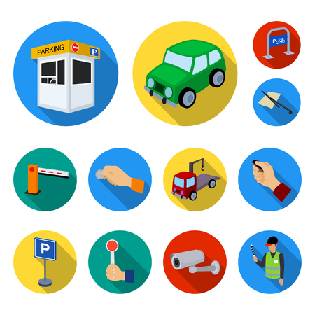 Parking for cars flat icons in set collection for design. Equipment and service bitmap symbol stock  illustration.