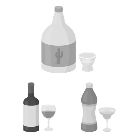 Types of alcohol monochrome icons in set collection for design. Alcohol in bottles vector symbol stock web illustration.  イラスト・ベクター素材