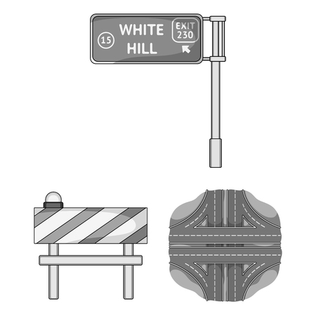 Road junctions and signs and other web icon in monochrome style.Pedestrian crossings and signs icons in set collection.