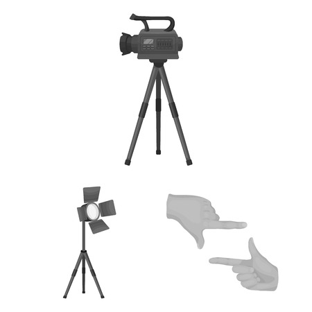 Making a movie monochrome icons in set collection for design. Attributes and Equipment vector symbol stock web illustration.
