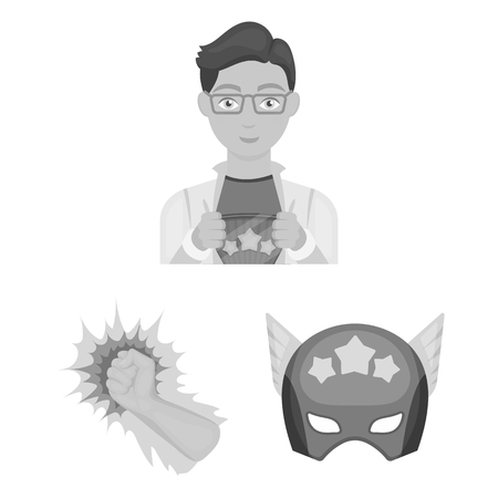 A fantastic superhero monochrome icons in set collection for design. Superheros equipment vector symbol stock web illustration. Illustration