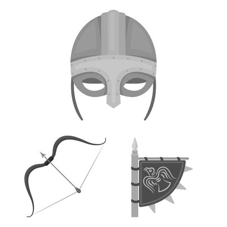 Vikings and attributes cartoon icons in set collection for design.Old Norse Warrior vector symbol stock web illustration. Illustration