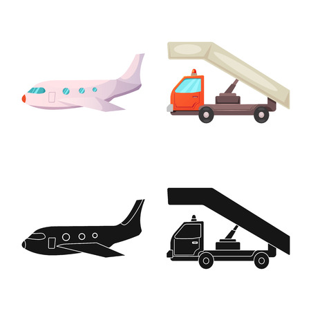 Vector design of airport and airplane sign. Collection of airport and plane stock vector illustration. Imagens - 108007141