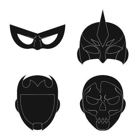 Vector design of hero and mask sign. Set of hero and superhero stock symbol for web. Ilustração