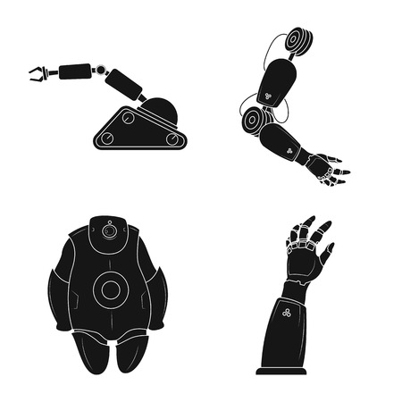 Vector illustration of robot and factory icon. Set of robot and space stock symbol for web. Ilustrace
