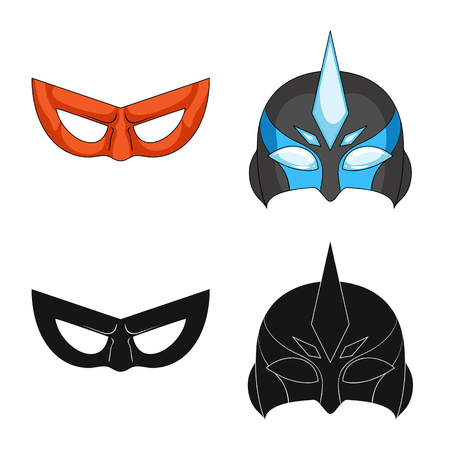 Vector design of hero and mask sign. Set of hero and superhero vector icon for stock. Illustration