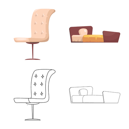 Vector illustration of furniture and apartment logo. Set of furniture and home stock symbol for web.