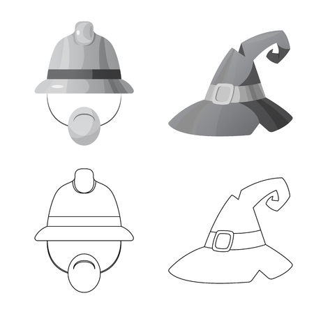 Vector design of headgear and cap symbol. Set of headgear and accessory vector icon for stock.
