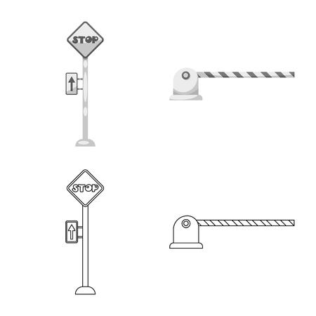 駅と駅のロゴの孤立したオブジェクト。●列車やチケットのストックベクトルイラストのコレクション。