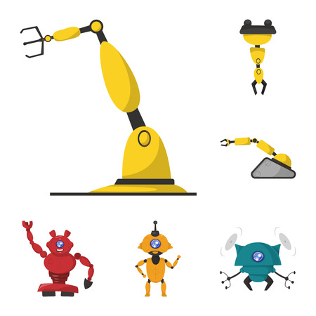 objeto aislado de robot y elementos de fábrica . conjunto de robot y símbolo de espacio de espacio para web