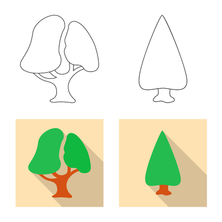 Isolated object of tree and nature icon. Collection of tree and crown vector icon for stock.