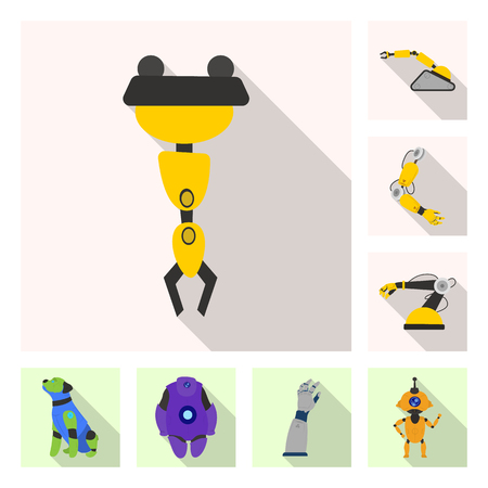 Vector illustration of robot and factory sign. Set of robot and space stock vector illustration.