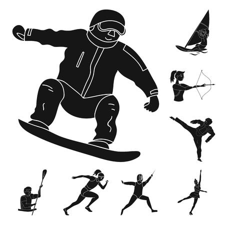 Diferentes tipos de deportes iconos negros de colección set de diseño. Atleta, ilustración de stock de símbolo de vector de competiciones.