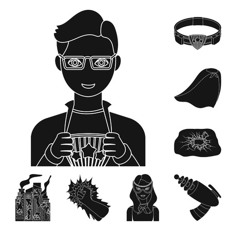 A fantastic superhero black icons in set collection for design. Superheros equipment vector symbol stock web illustration. Ilustração