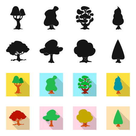 Vector design of tree and nature sign. Collection of tree and crown stock symbol for web.