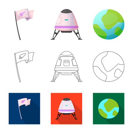Vector illustration of mars and space sign. Collection of mars and planet stock vector illustration. 矢量图像