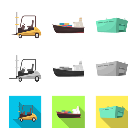 Vector design of goods and cargo sign. Collection of goods and warehouse stock symbol for web. Illustration
