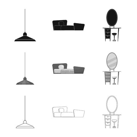 Oggetto isolato di mobili e simbolo dell'appartamento. Set di mobili e casa stock illustrazione vettoriale.
