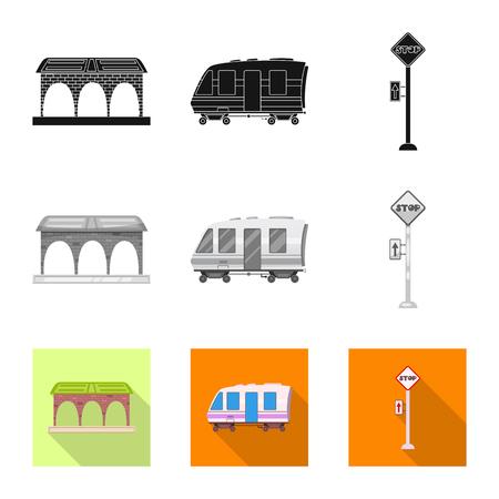 駅と駅のロゴの孤立したオブジェクト。ウェブ用列車・チケットのシンボルのコレクション。