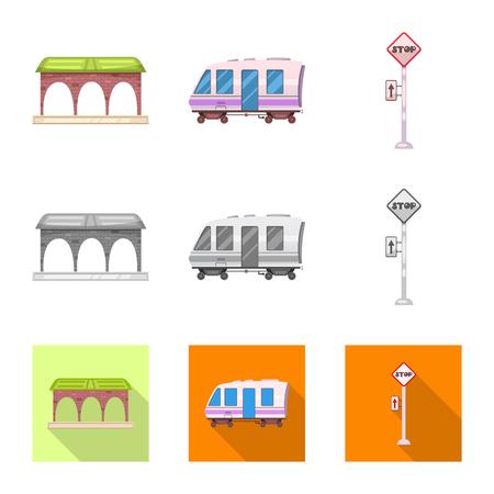 駅と駅のシンボルの孤立したオブジェクト。●列車やチケットのストックベクトルイラストのコレクション。
