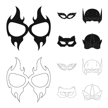 Vector design of hero and mask icon. Set of hero and superhero stock symbol for web.