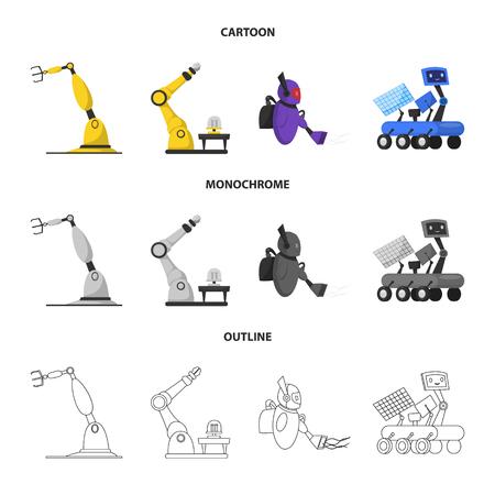objeto aislado de robot y elementos de fábrica . conjunto de elementos de petróleo y espacio . ilustración vectorial Ilustración de vector