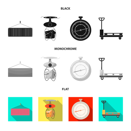 Vector illustration of goods and cargo sign. Set of goods and warehouse stock vector illustration.