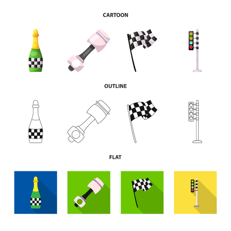 Isolated object of car and rally icon. Collection of car and race vector icon for stock.