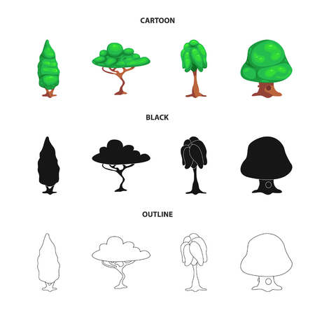 Vector design of tree and nature sign. Collection of tree and crown vector icon for stock. Vettoriali