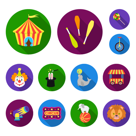 Circus and attributes flat icons in set collection for design. Circus Art vector symbol stock web illustration.