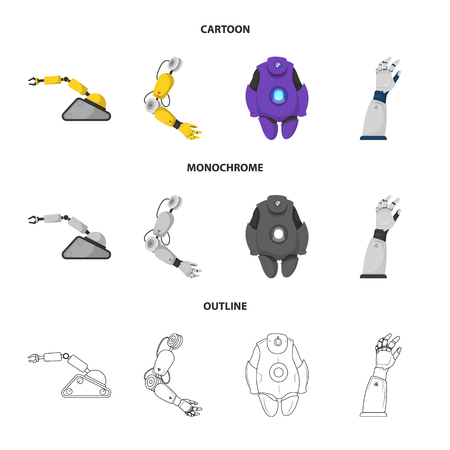 Isolated object of robot and factory sign. Set of robot and space stock vector illustration.