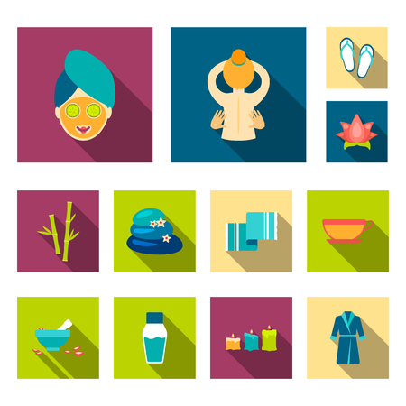 Spa salon and equipment flat icons in set collection for design. Relaxation and rest vector symbol stock web illustration. Illustration