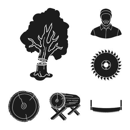 Sawmill and Timber black icons in set collection for design. Hardware and Tools bitmap symbol stock web illustration.