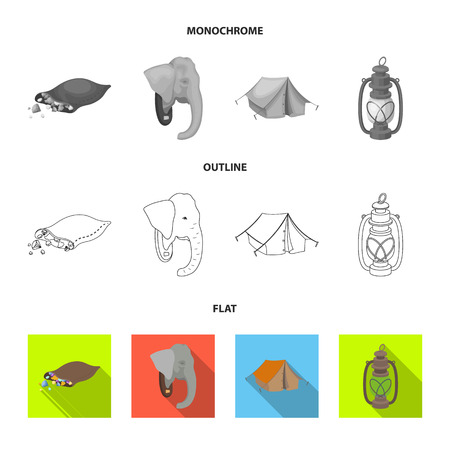 A bag of diamonds, an elephant head, a kerosene lamp, a tent. African safari set collection icons in flat,outline,monochrome style bitmap symbol stock illustration web.