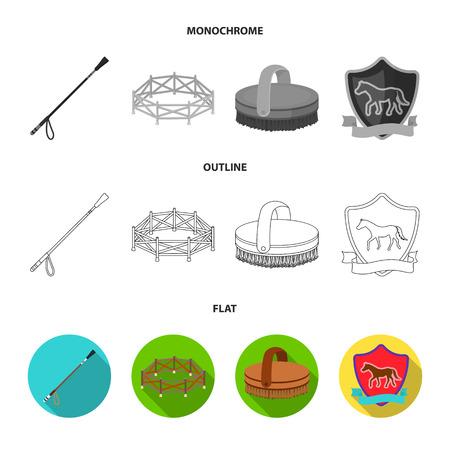 Aviary, whip, emblem, hippodrome .Hippodrome and horse set collection icons in flat,outline,monochrome style bitmap symbol stock illustration web. Stock Photo