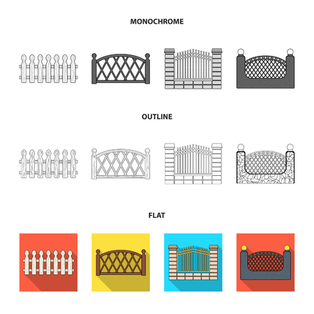 A fence of metal and bricks,wooden palisade. A different fence set collection icons in flat,outline,monochrome style bitmap symbol stock illustration web.