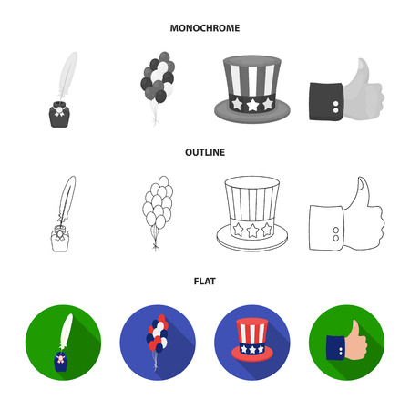 Balloons, inkwell with a pen, Uncle Sam hat. The patriot day set collection icons in flat,outline,monochrome style bitmap symbol stock illustration web.