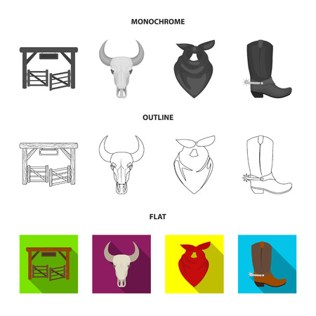 Gates, a bull skull, a scarf around his neck, boots with spurs. Rodeo set collection icons in flat,outline,monochrome style bitmap symbol stock illustration web.