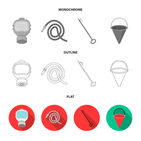 Gas mask, hose, bucket, bagore. Fire department set collection icons in flat,outline,monochrome style bitmap symbol stock illustration web.