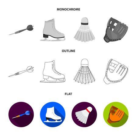 Darts darts, white skate skates, badminton shuttlecock, glove for the game.Sport set collection icons in flat,outline,monochrome style bitmap symbol stock illustration web.