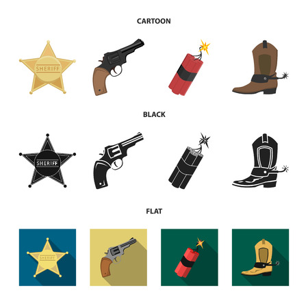 Star sheriff, Colt, dynamite, cowboy boot. Wild West set collection icons in cartoon,black,flat style bitmap symbol stock illustration web. 스톡 콘텐츠