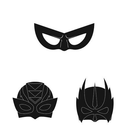 Vector design of hero and mask sign. Set of hero and superhero stock vector illustration.