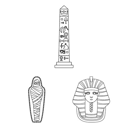 Ancient Egypt outline icons in set collection for design. The reign of Pharaoh vector symbol stock  illustration.
