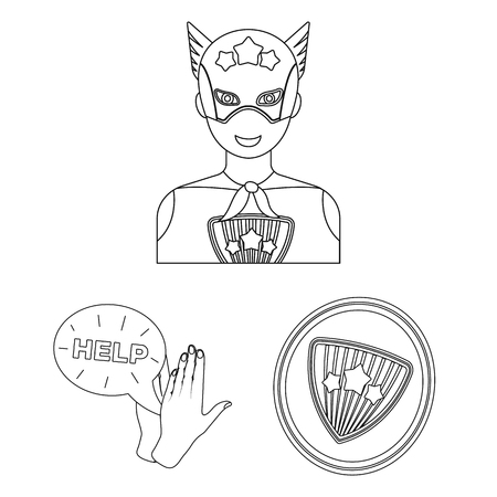 A fantastic superhero outline icons in set collection for design. Superhero's equipment vector symbol stock  illustration. Stock Vector - 108041726