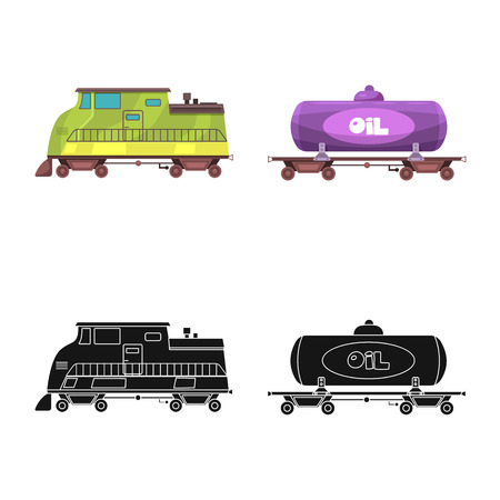 Vector design of train and station symbol. Set of train and ticket vector icon for stock.