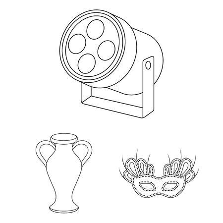 デザインのためのセットコレクションの演劇芸術のアウトラインアイコン。劇場機器やアクセサリーベクトルシンボルのストックイラスト。