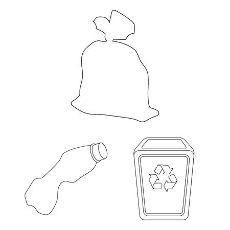 Icônes de contour des ordures et des déchets dans la collection de jeux pour la conception. Illustration stock de symbole de vecteur d'ordures de nettoyage.